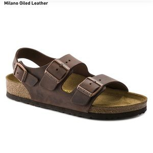 Birkenstock miliano oiled leather brown sandals 41